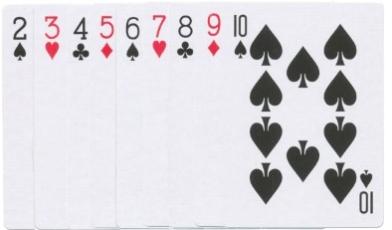 Kartenwerte zwei bis zehn