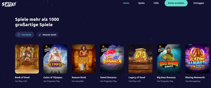 SpinAway Casino Startseite